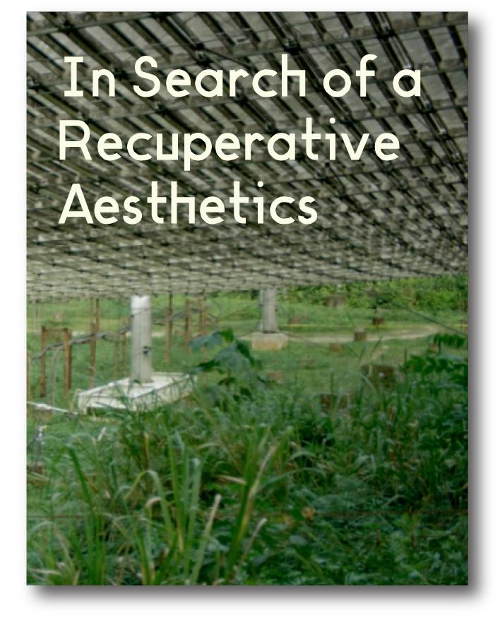 "In Search of a Recuperative Aesthetics  For Art & Education Classroom, December 2018  Taking prompts from Carrie Lambert-Beatty's ""Make-Believe: Parafiction and Plausibility,"" Bruno Latour's ""Why Has Critique Run out of Steam?"" and Terry Smith's ""Contemporary Art and Contemporaneity,"" this hypertext seeks out art works and practices that we might call recuperative - those that grapple with the present by carving out space to feel, mourn, dream, and build. Videos by: Alexis Shotwell, Donna Haraway & Anna Tsing, Allora & Calzadilla, Metahaven, Danny Giles, Ruby T, Black Quantum Futurism, Fictilis, Hito Steyerl, Irena Haiduk, Coco Fusco & Guillermo Gómez-Peña, The Yes Men, Walid Raad, and Solange Knowles.   Publisher's link"