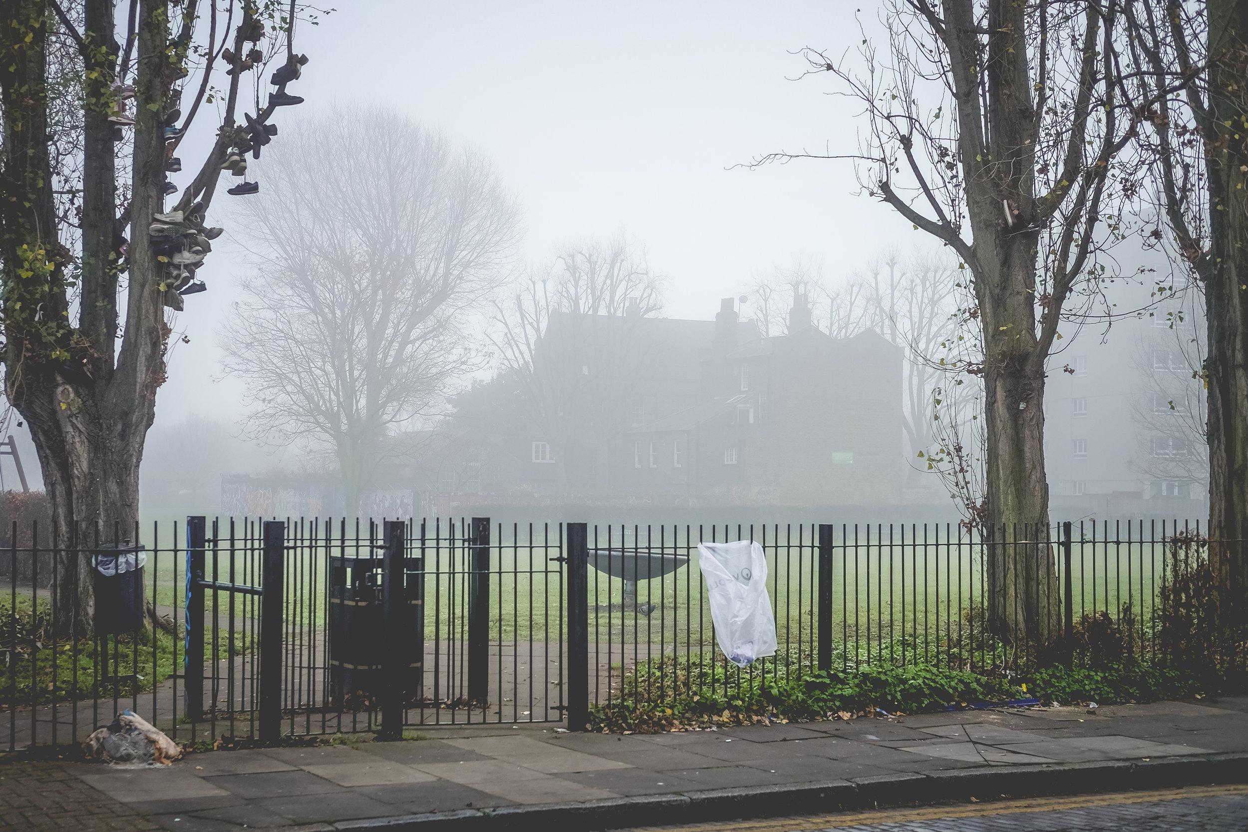 Spooky park behind Brick Lane