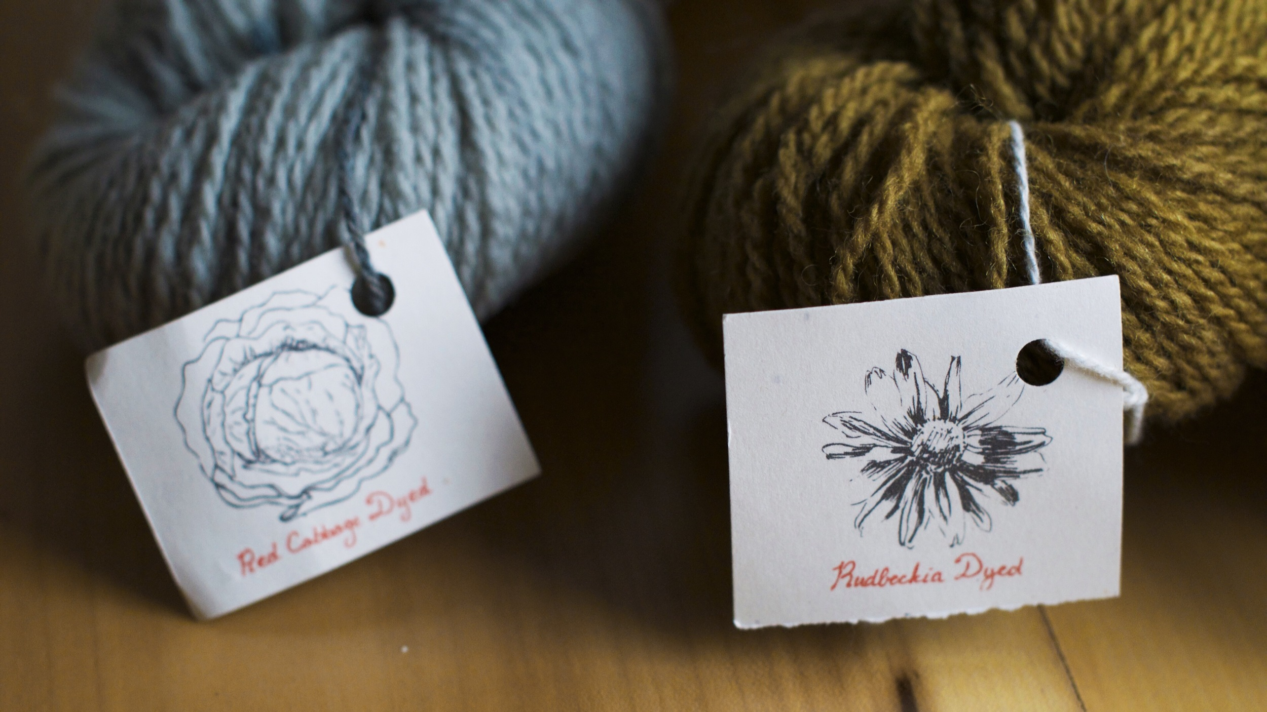 I am a sucker for sweet little details, and I just adore these beautifully printed tags that share what each skein was dyed with!