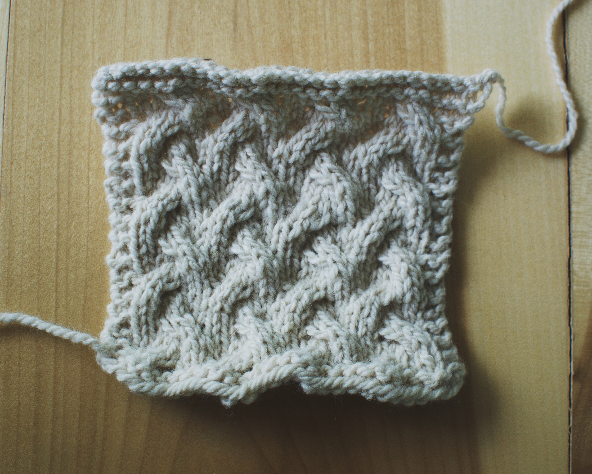 My swatch  BEFORE  blocking.