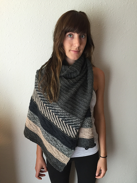 Brittany's  beautiful neutral and marled Om shawl!