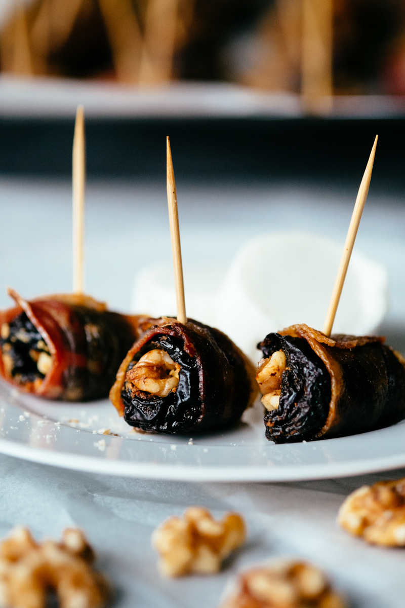 Prunes stuffed with cheese and nuts