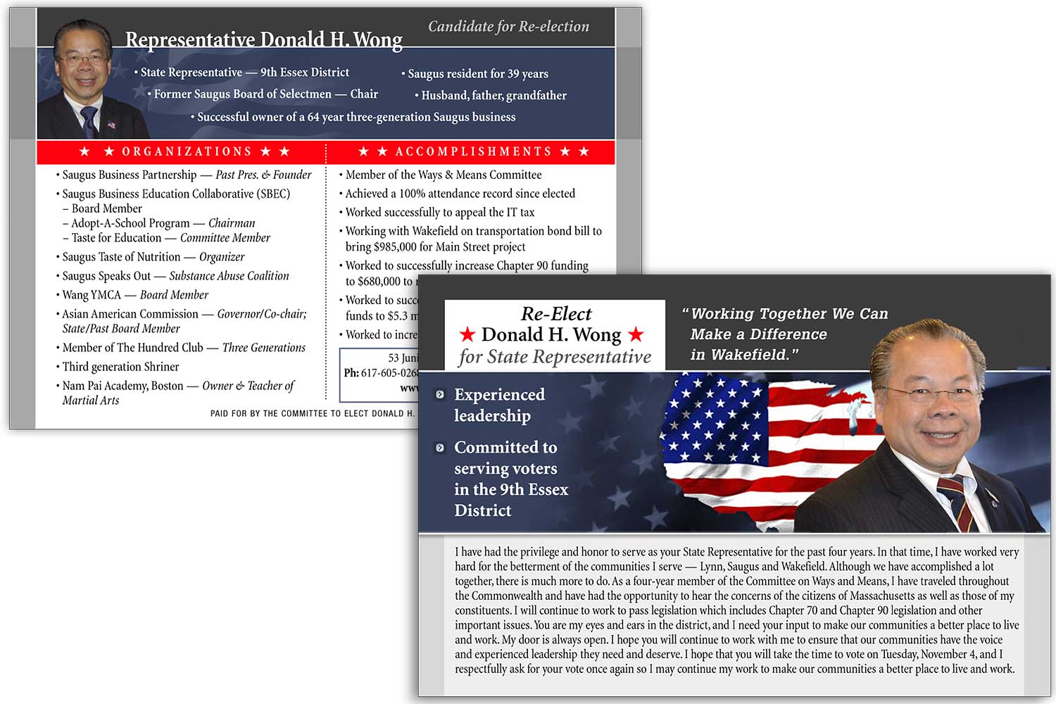 """Political Candidate's Hand-out Card, 6.75"""" x 4.75"""""""