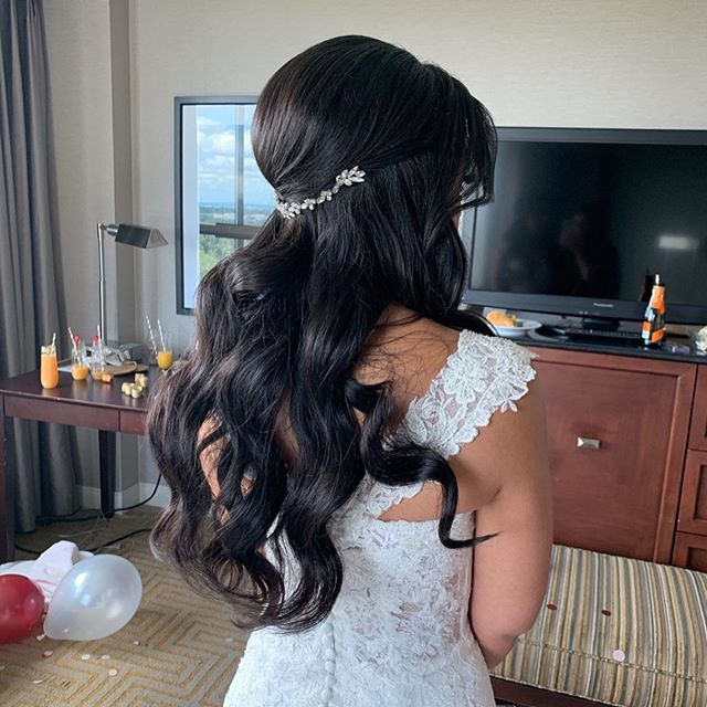 Congrats Maureen!! Best wishes to you and your hubby, loved getting you and your girls ready yesterday morning! . . . . . . . . . . . . . . . . . . #onlocationhairstylist #njbride #newjerseyweddings #halfuphalfdownhairstyle #bridalhairstylist #njbridalhairstylist #polishedwaves #brunettebride #bridalhair #weddinghair #lovewhatido #godprovides #bridalbeauty