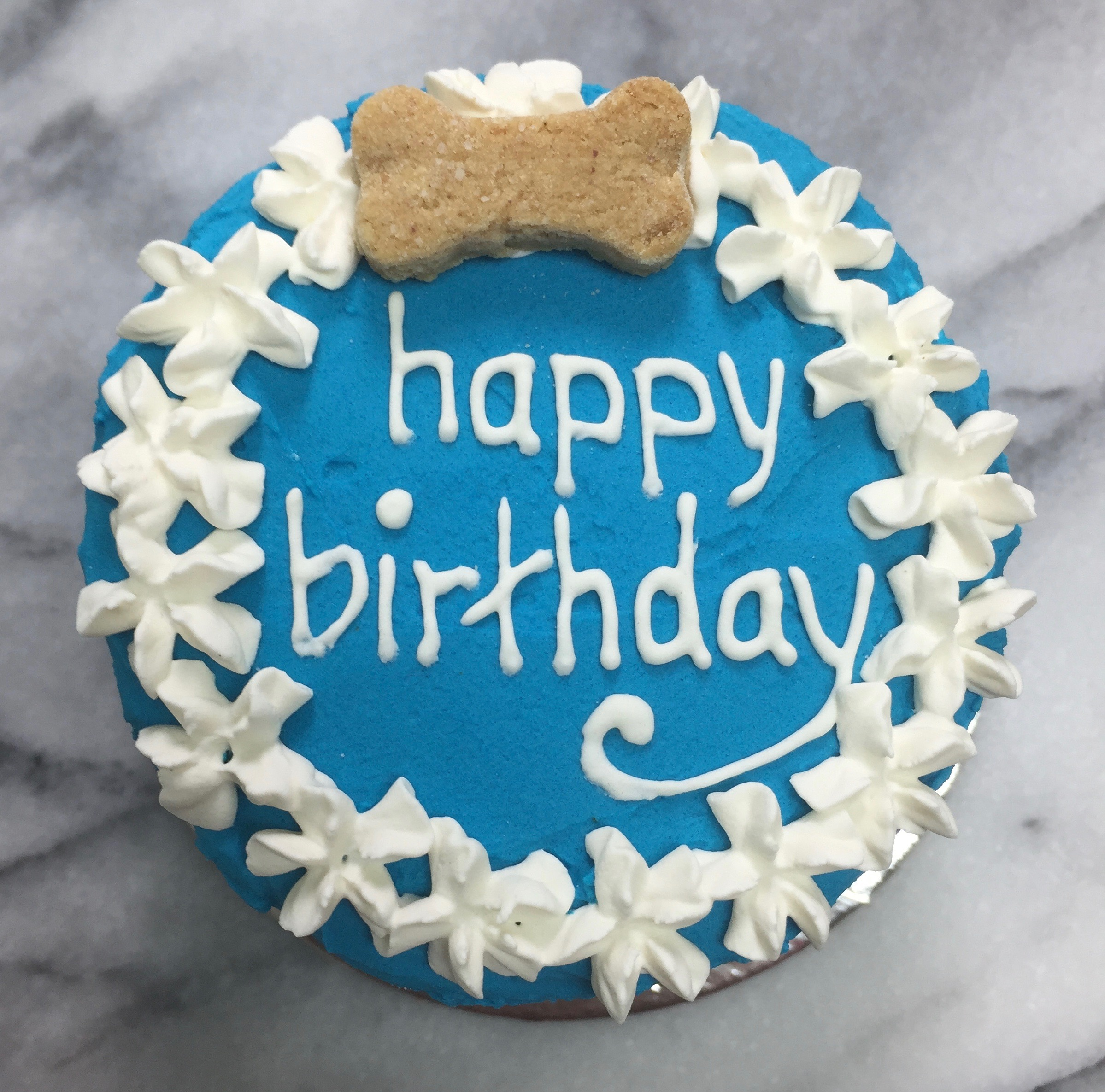 Blue with white frosting