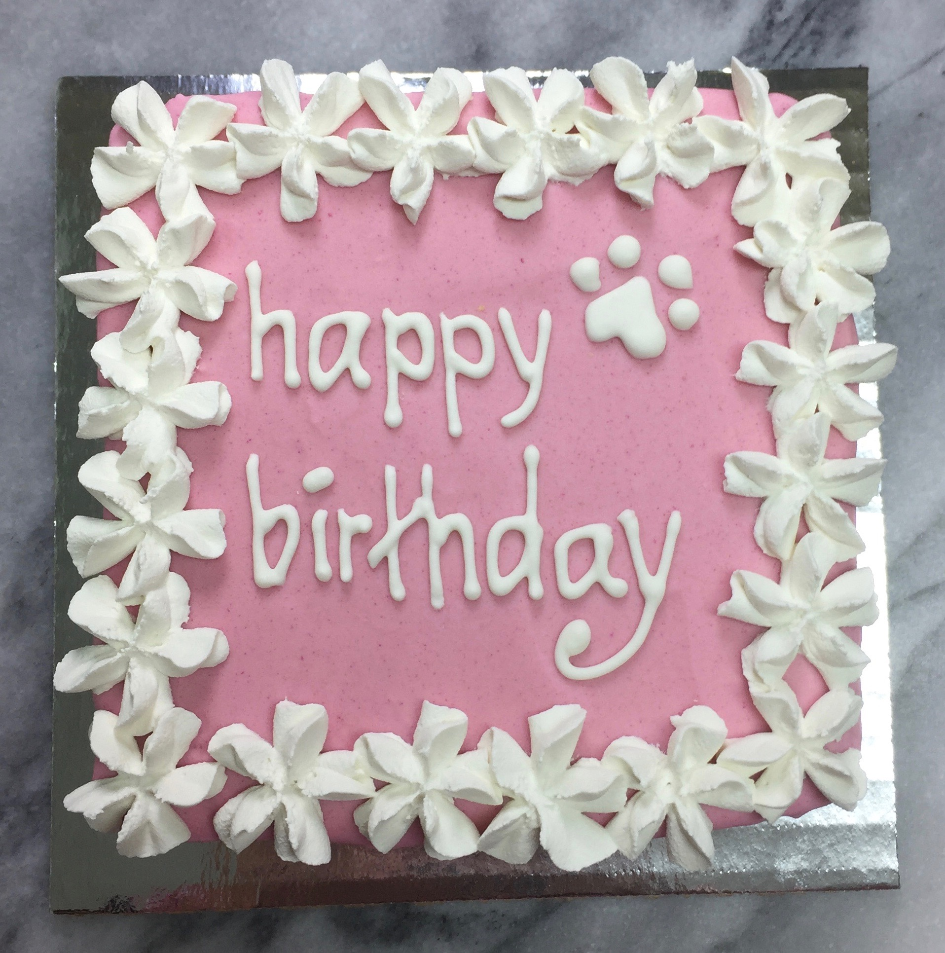 Pink with white frosting
