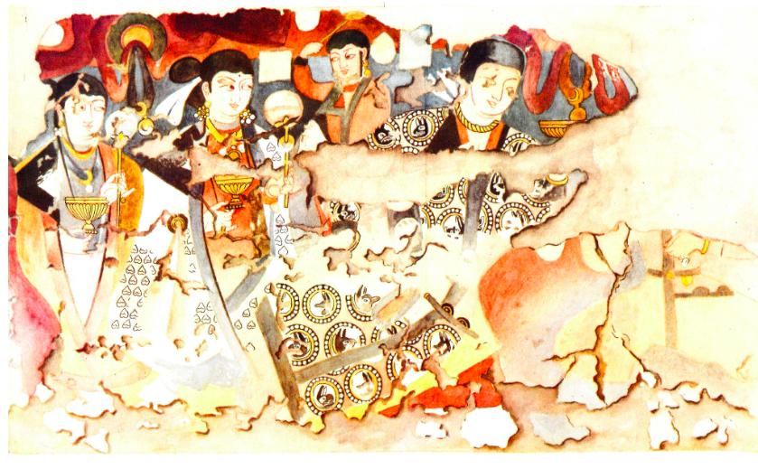 Watercolor detail of western wall. Image: Al'baum 1960.