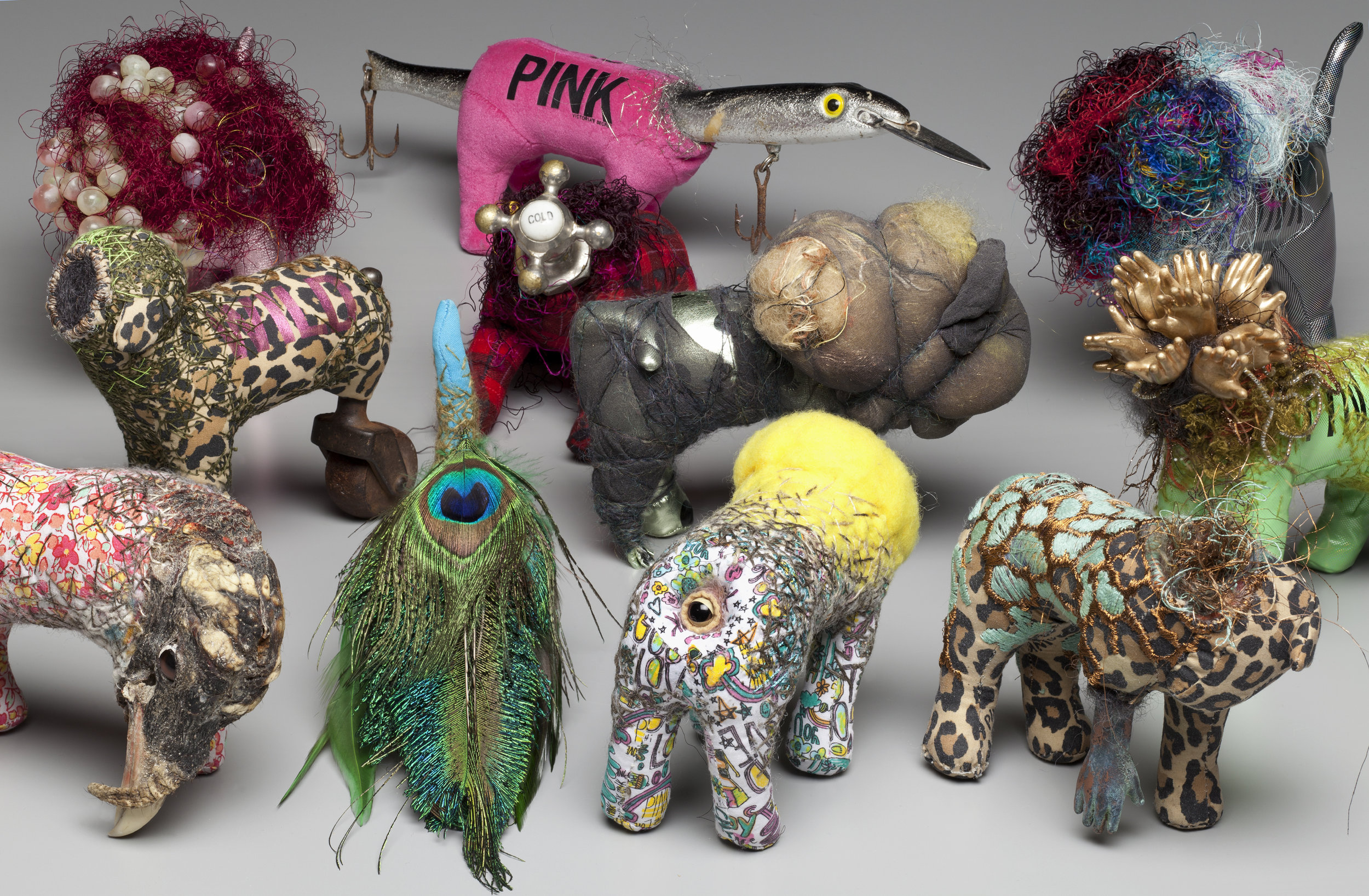 NATURE OF THE BEAST | Installation of 20 sculptures in varied, reconstructed stuffed toys, embroidery, mixed fibers, found objects – 2016