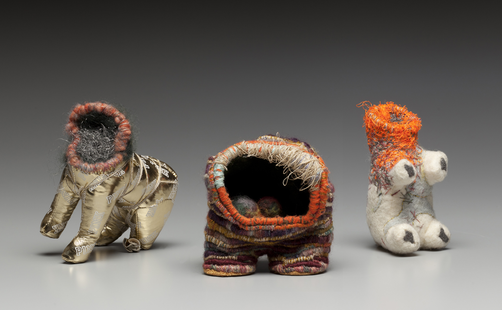 POWER FIGURES | Stuffed toys, steel wool, mixed threads, needlefelted wool, 6.5x5.5x4, 5x4.5x3.5, 5.25x3.5x3 inches – 2015