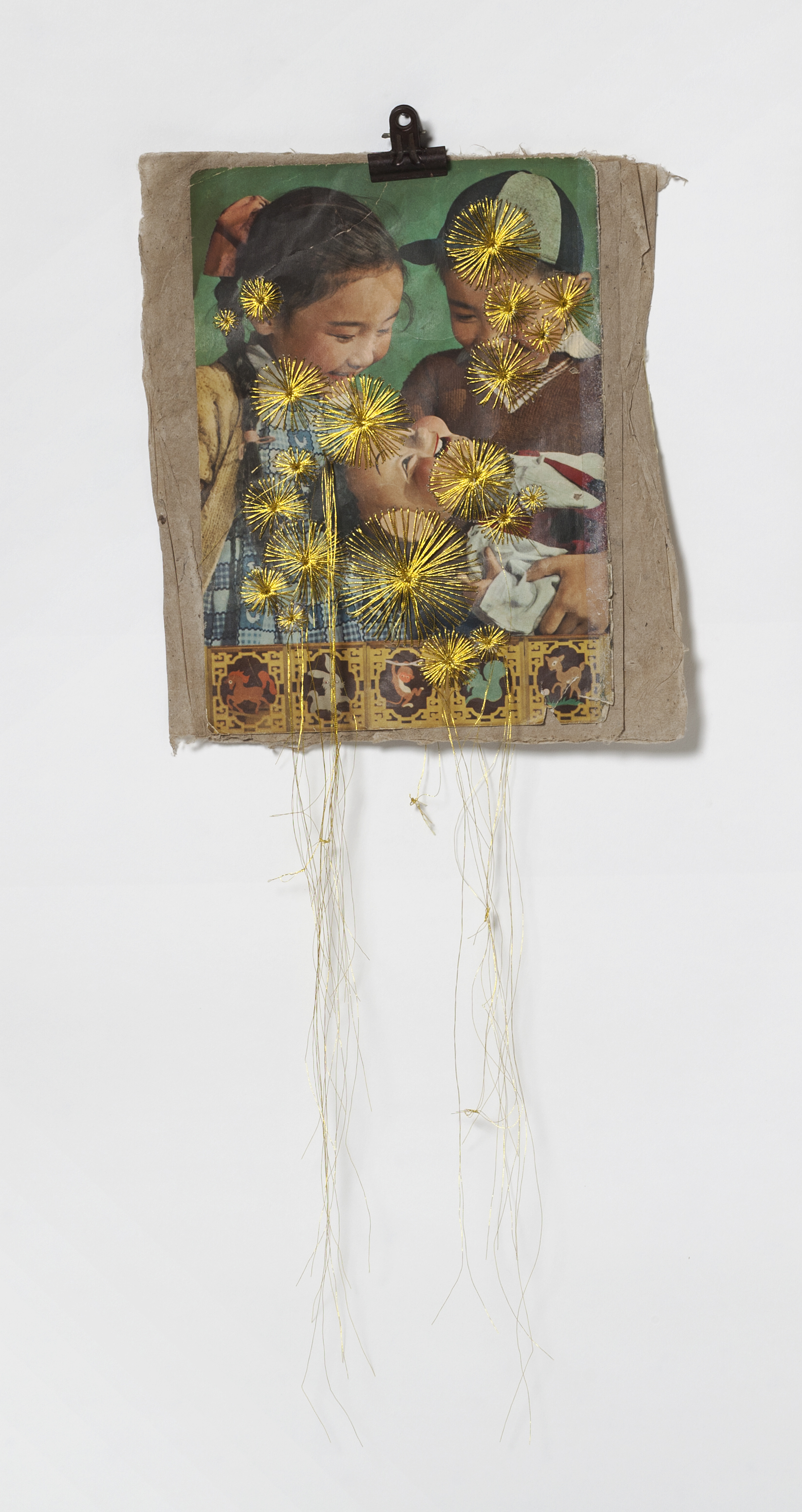 CHINA SAMPLERS I, II Found threads, 1960s Mao propaganda magazines, dimensions vary from 7x9 to 9x12 inches – 2014