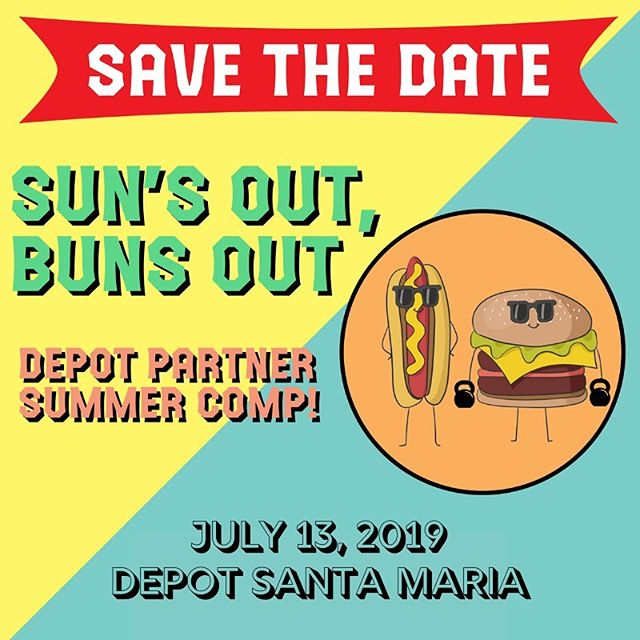SAVE THE DATE & grab your workout buddy, because JULY 13 we will be having a partner competition!  We'll be having RX + Scaled divisions and pairs can be MM, FF, or MF. Stay tuned for the signup link! 🌞🌭🍔💪🏽 #depotsmv #depotunited #partnercomp #partnerworkout #savethedate #summertimeandtheliftingseasy #isthishowyouhashtag