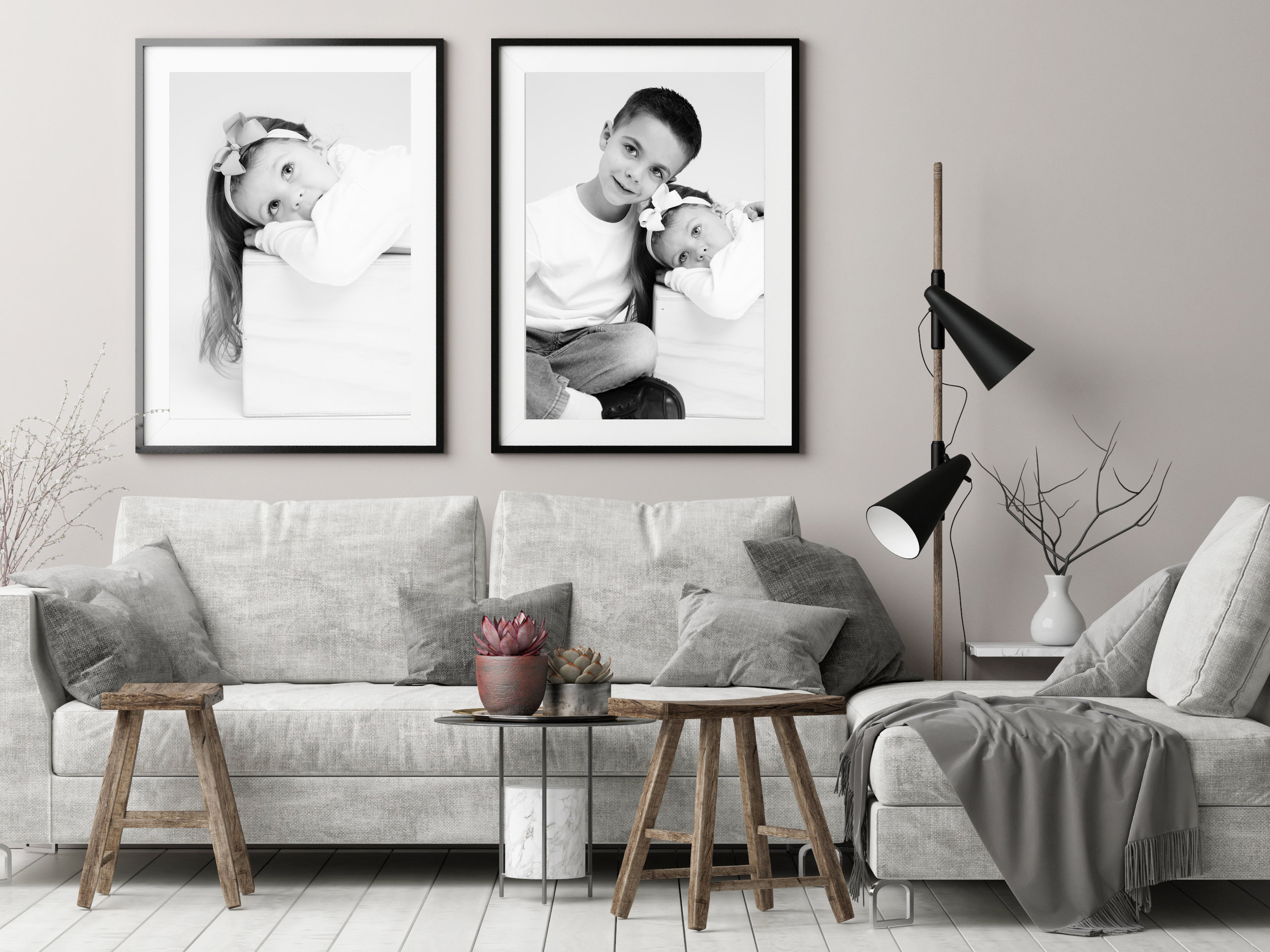 Mock up posters in Nordic hipster living room, 3d render, 3d ill
