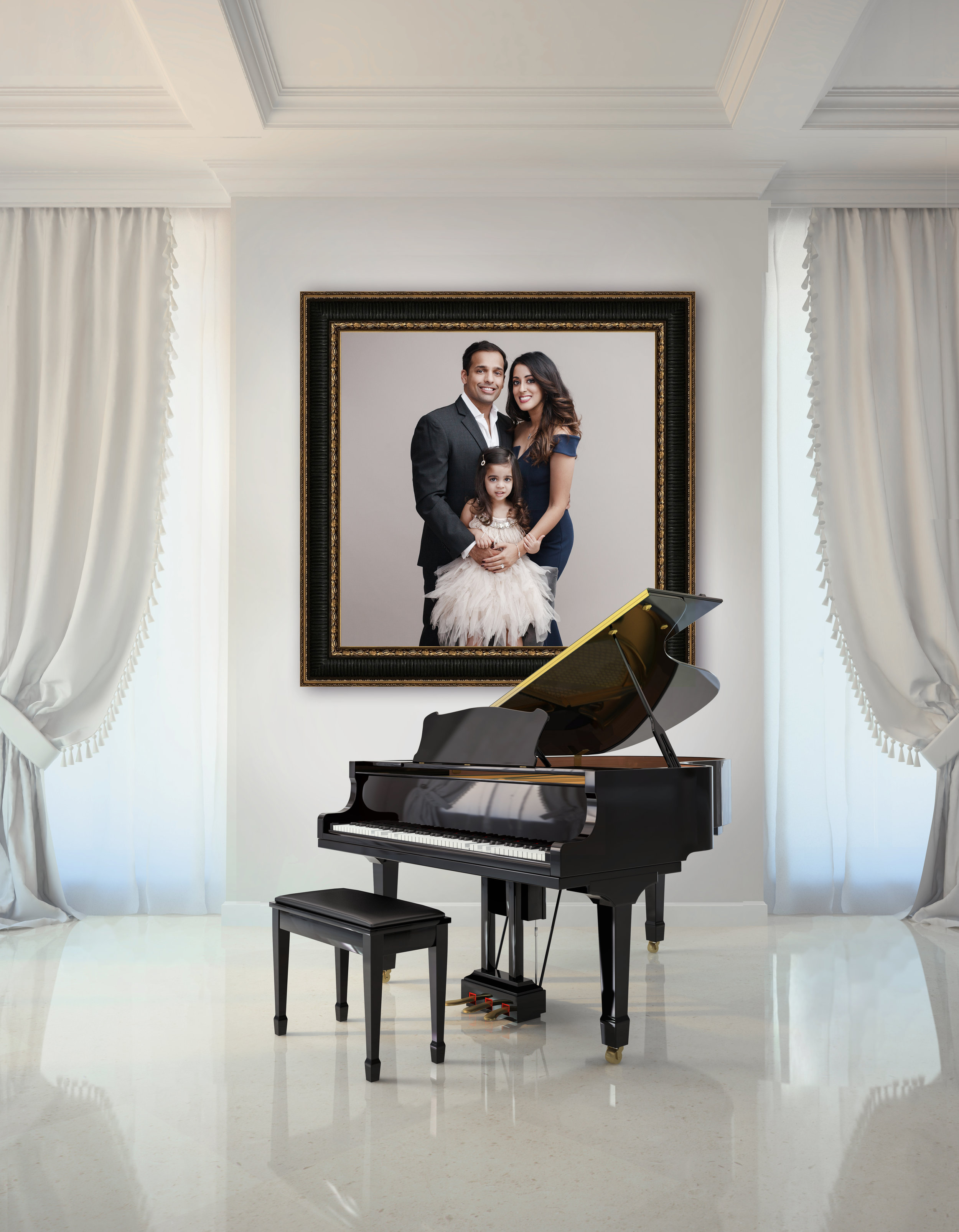 Room in classic style with black piano