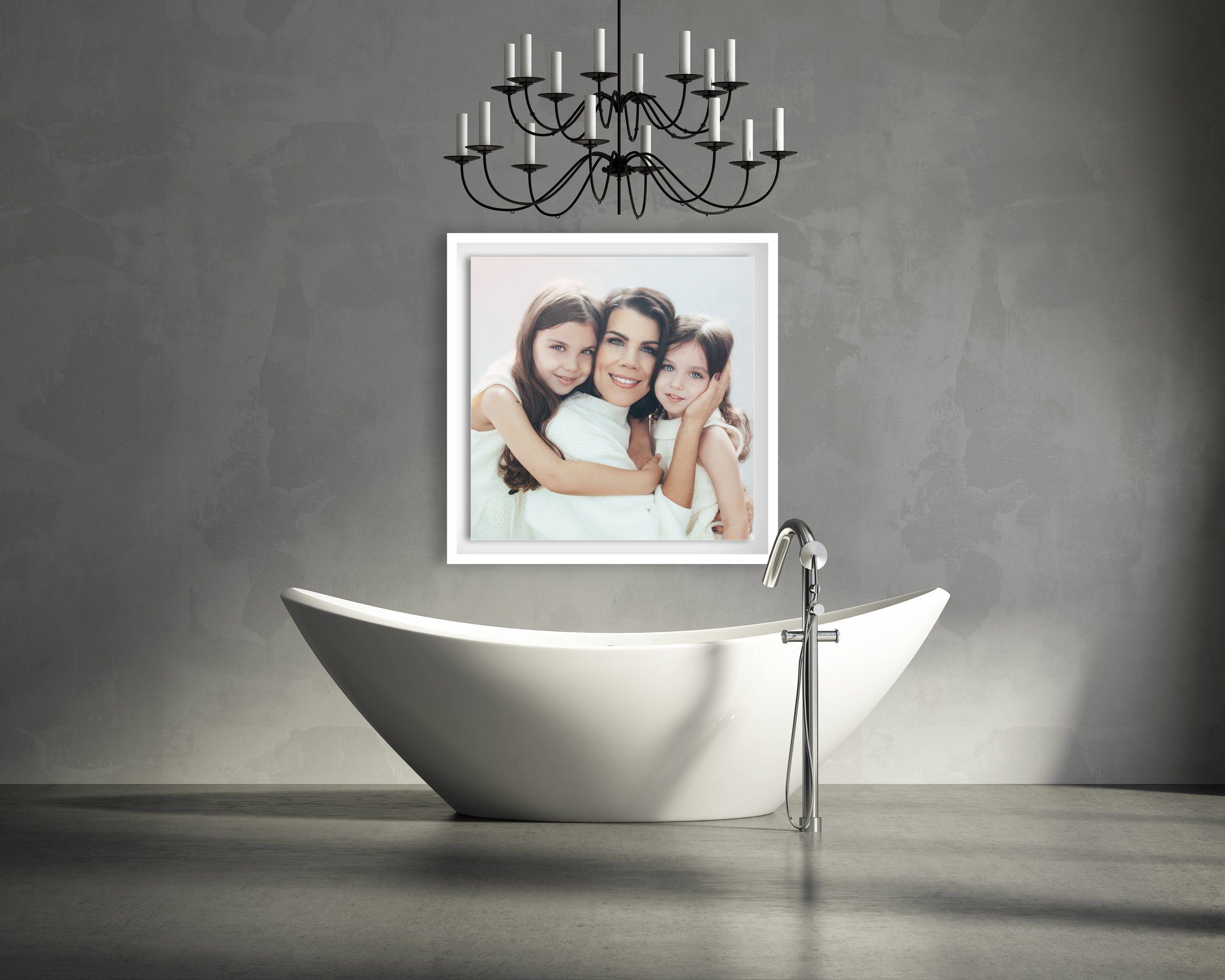 Minimal  contemporary grey bathroom with bathtub and chandellier