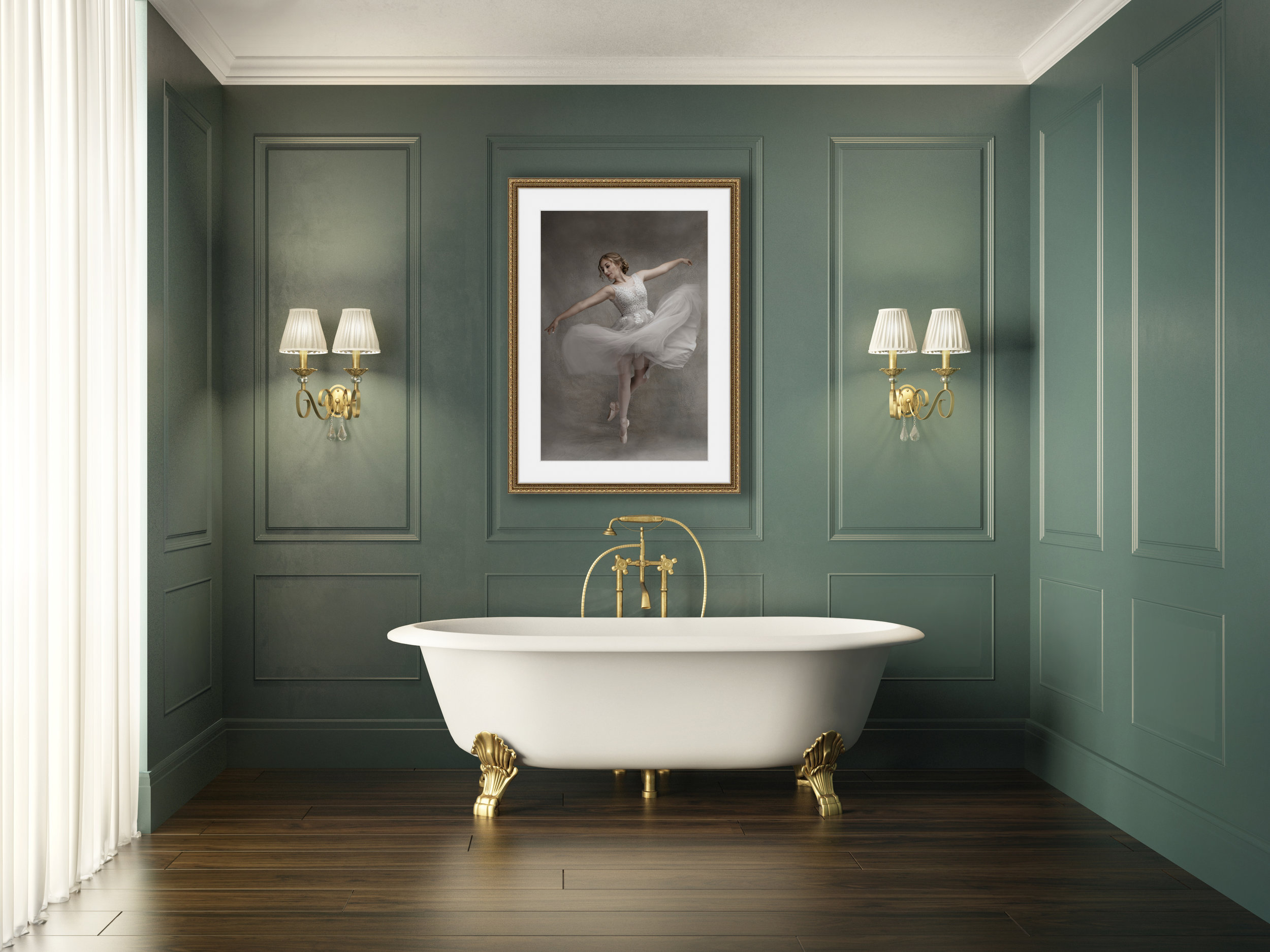 Classic luxury vintage green bathroom
