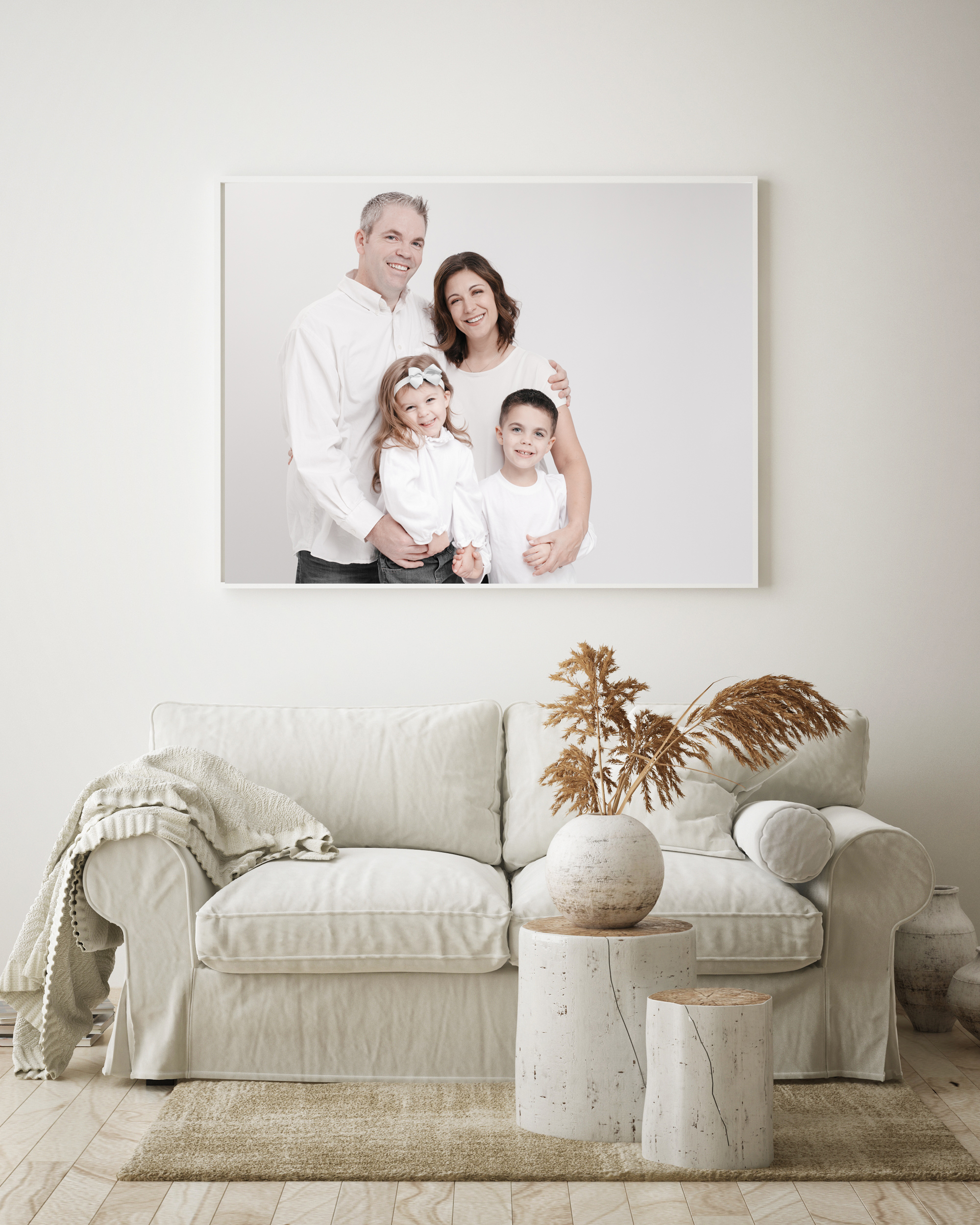 mock up poster frame in modern interior background, living room,
