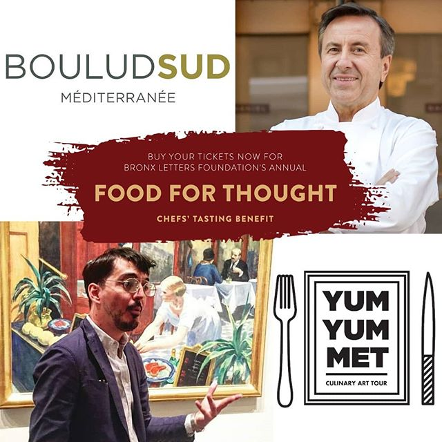 Tonight 🎆, for the 2️⃣nd  year we are happy to support *@bronxlettersfoundation's #FoodForThought benefit, donating a private #YumYumMetCulinaryArtTour for 4️⃣ generous supporters. This time though, we're a part of a fabulous combo! Our 🖼️ @metmuseum experience will be followed by a magnificent three-course lunch 🥘 at @BouludSud, owned by the legendary chef 👨‍🍳 @DanielBoulud. And look who's the evening's host...@EricRipert of @LeBernardinNY 🐟🐠🐡! Can't wait to taste some of New York's best chefs' creations served for only one night in one place! *BLA supports the @BXletters school, which is located in the Mott Haven neighborhood of the South Bronx, USA's poorest congressional district