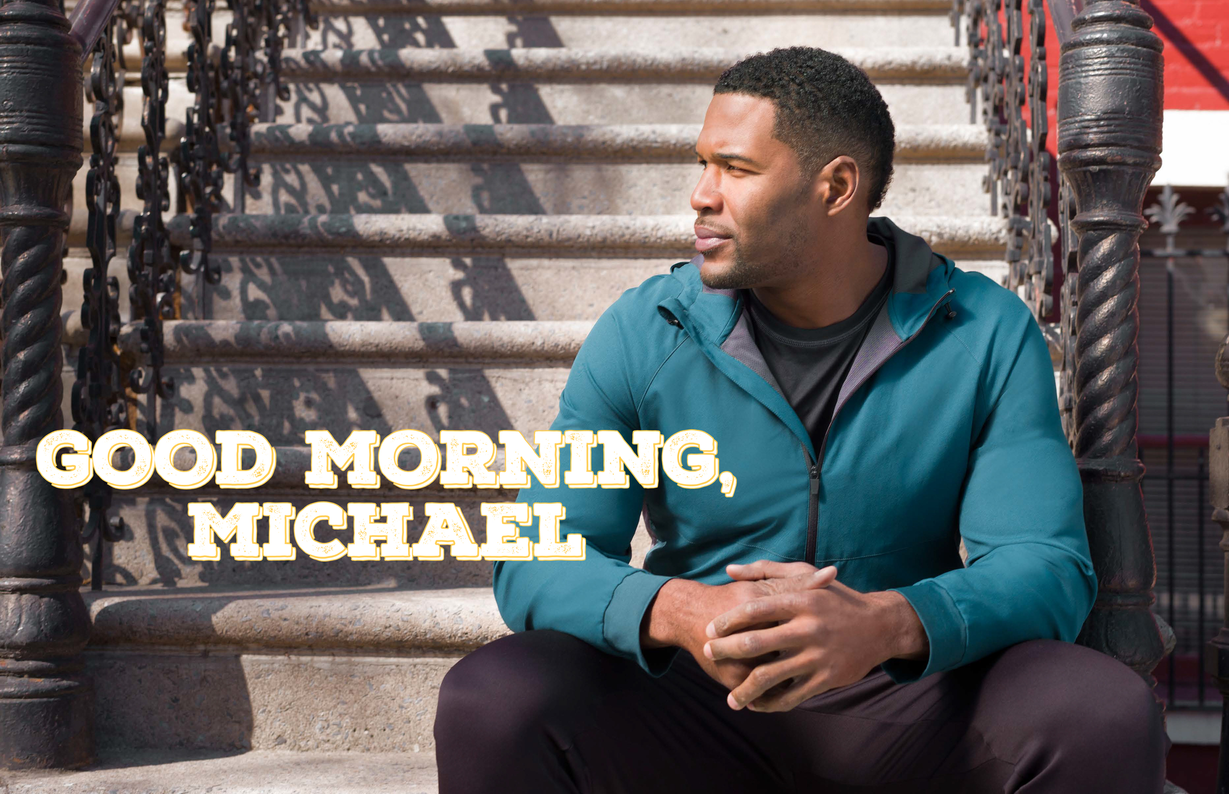 Pictures of Michael Strahan in athleisure attire, courtesy of JCP