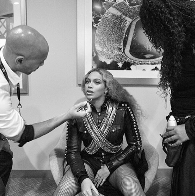Kim Kimble (right) behind the scenes at Super Bowl 50 with Beyonce before her mega Half Time Show Performance. Photo courtesy of Kim Kimble Salon.