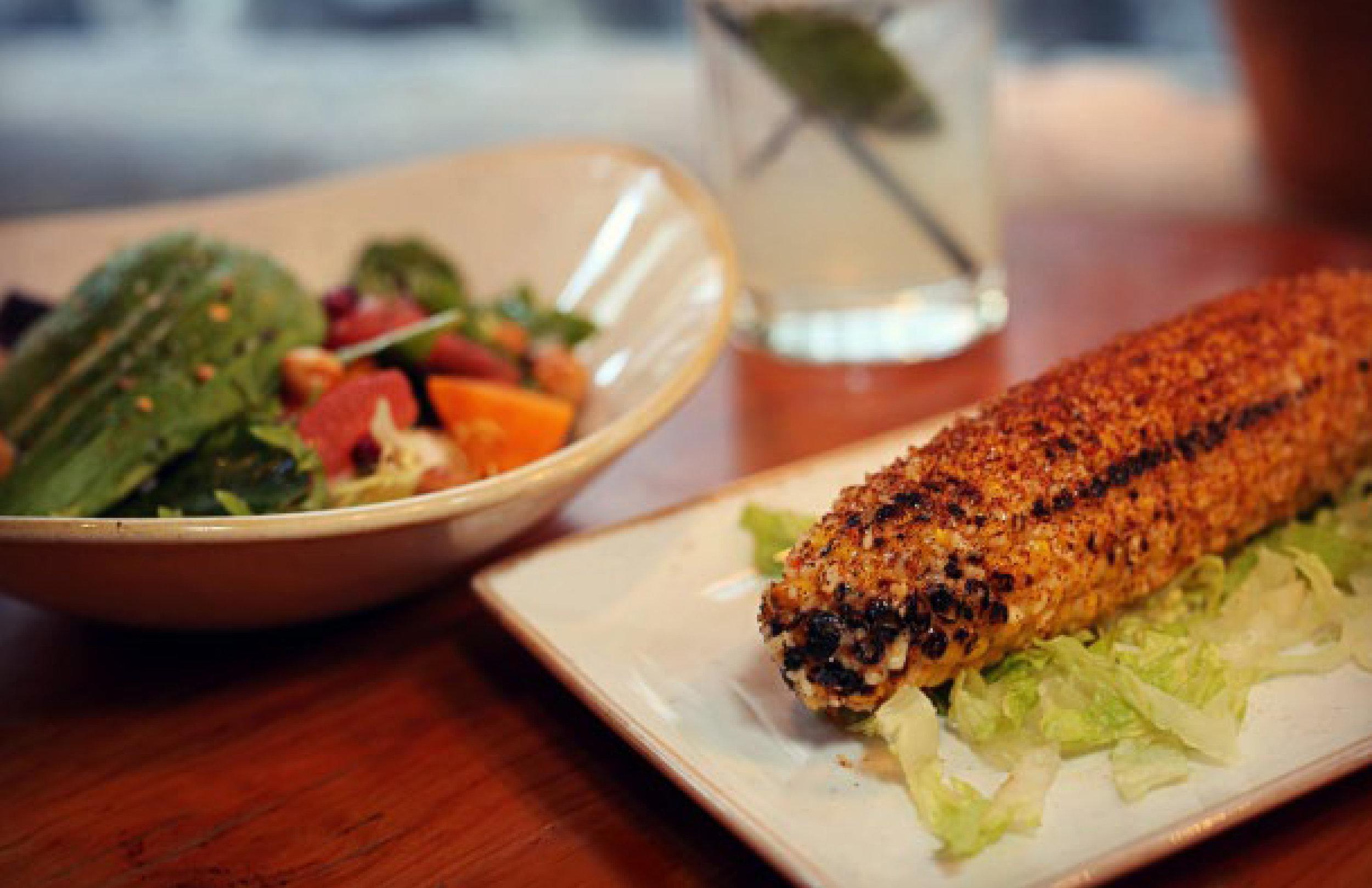 | LEFT  Persimmon Salad |  RIGHT  Elote de Calle |