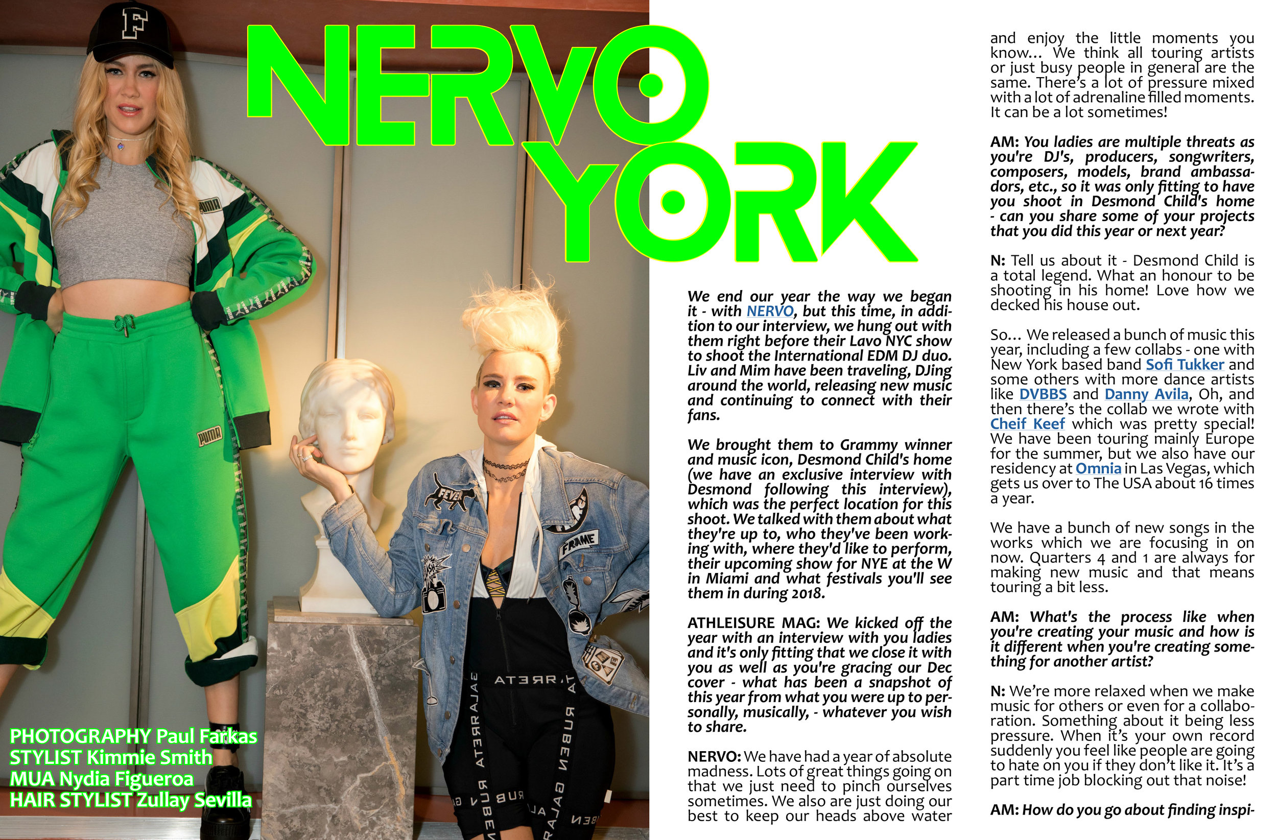 ATHLEISURE MAG DEC ISSUE WITH OUR CELEBRITY COVER, NERVO, EDM DJ DUO
