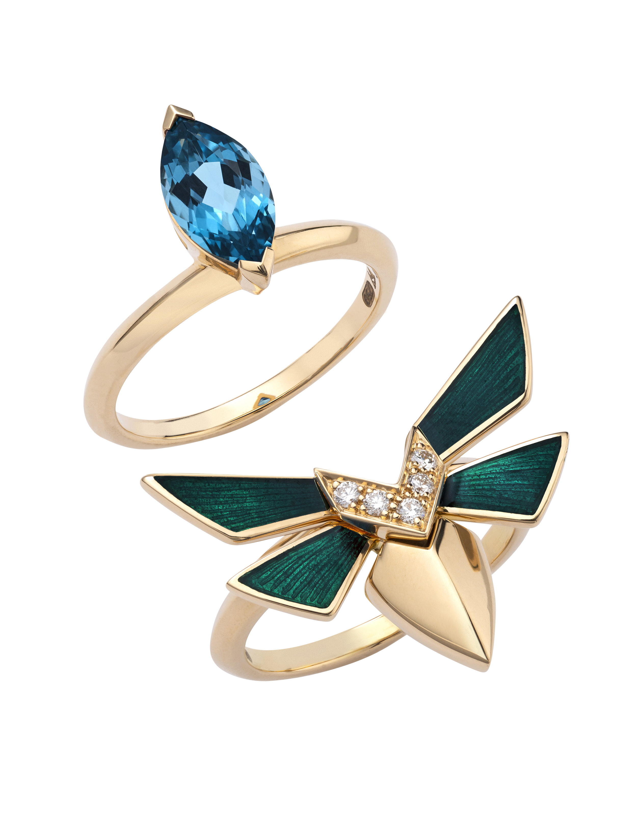 STEPHEN WEBSTER JEWELLERY | Jitterbug Stacking Ring, Blue Topaz Inner; $1,450 and Green Enamel White Diamond Pave Outer; $2,950 |