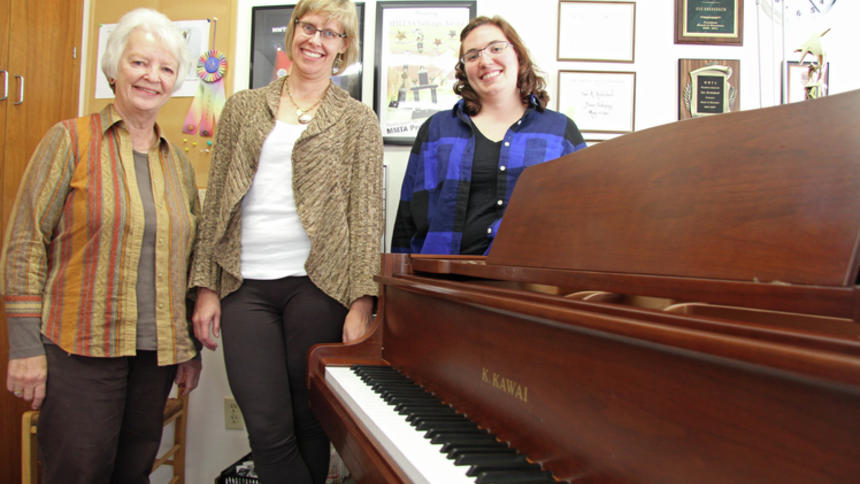 K&S Conservatory of Music director and co-founder Sue Krebsbach (from left) is pictured with fellow directors Sue Ruby and Sarah Mensen at the Woodbury studio. Scott Wente / RiverTown Multimedia