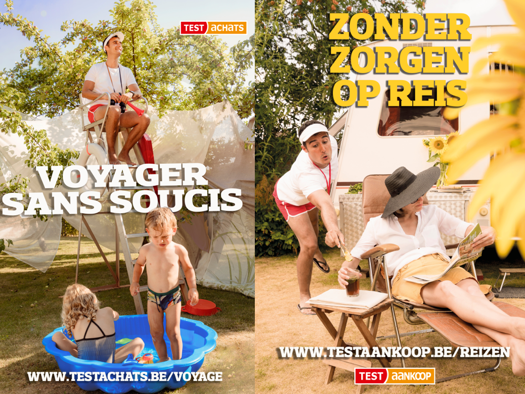 Test Aankoop - Test Achats - Photo shoot and graphic design, video production and social media advertising, positioning Test Achats as go-to partner when in trouble during your holidays.