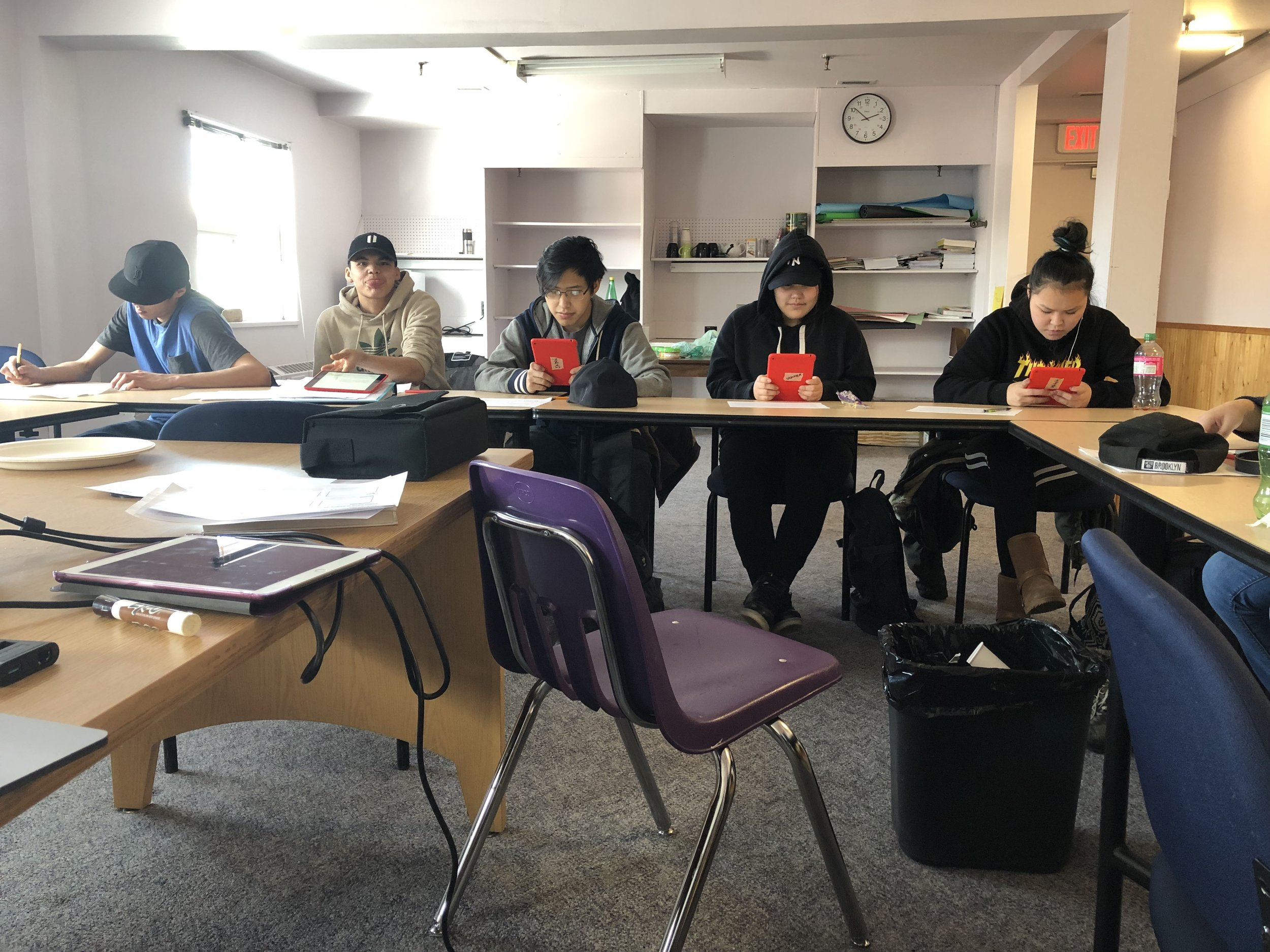 Students at work on their iPads