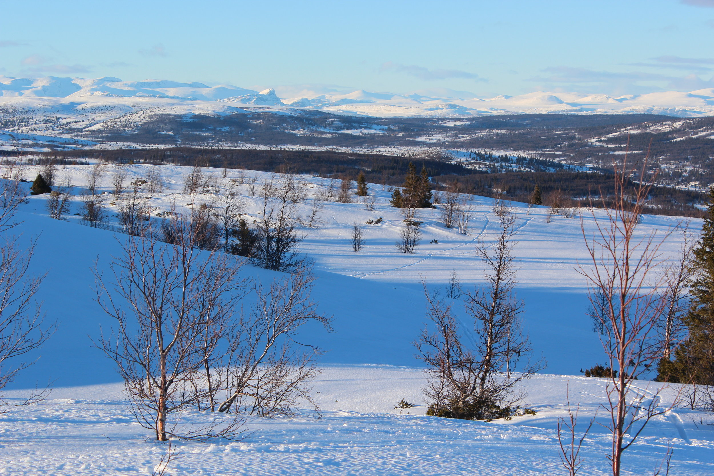 """The road into the Nøsen Yoga Retreat Center is aptly called """"Panorama Road"""". This picture was taken on March 18 during our visit to Nøsen, looking west, 10 minutes from the centre.When the workshop takes place in September the snow in the lowlands will have disappeared, but some may remain on the peaks."""
