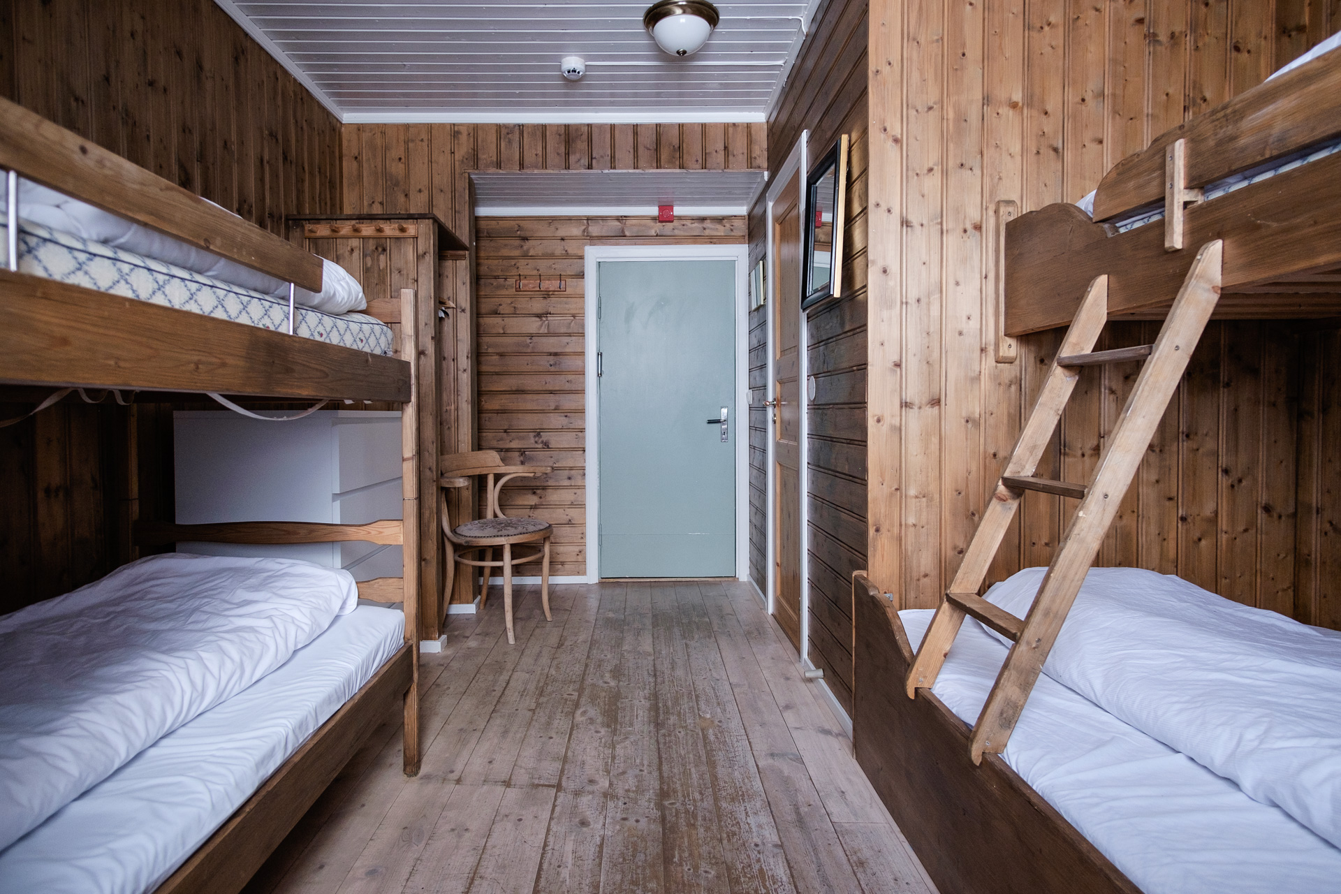 The hotel sleeps about 100 people. Rooms have two, four or six beds. This is a typical room. Photo: Sebastian Dahl