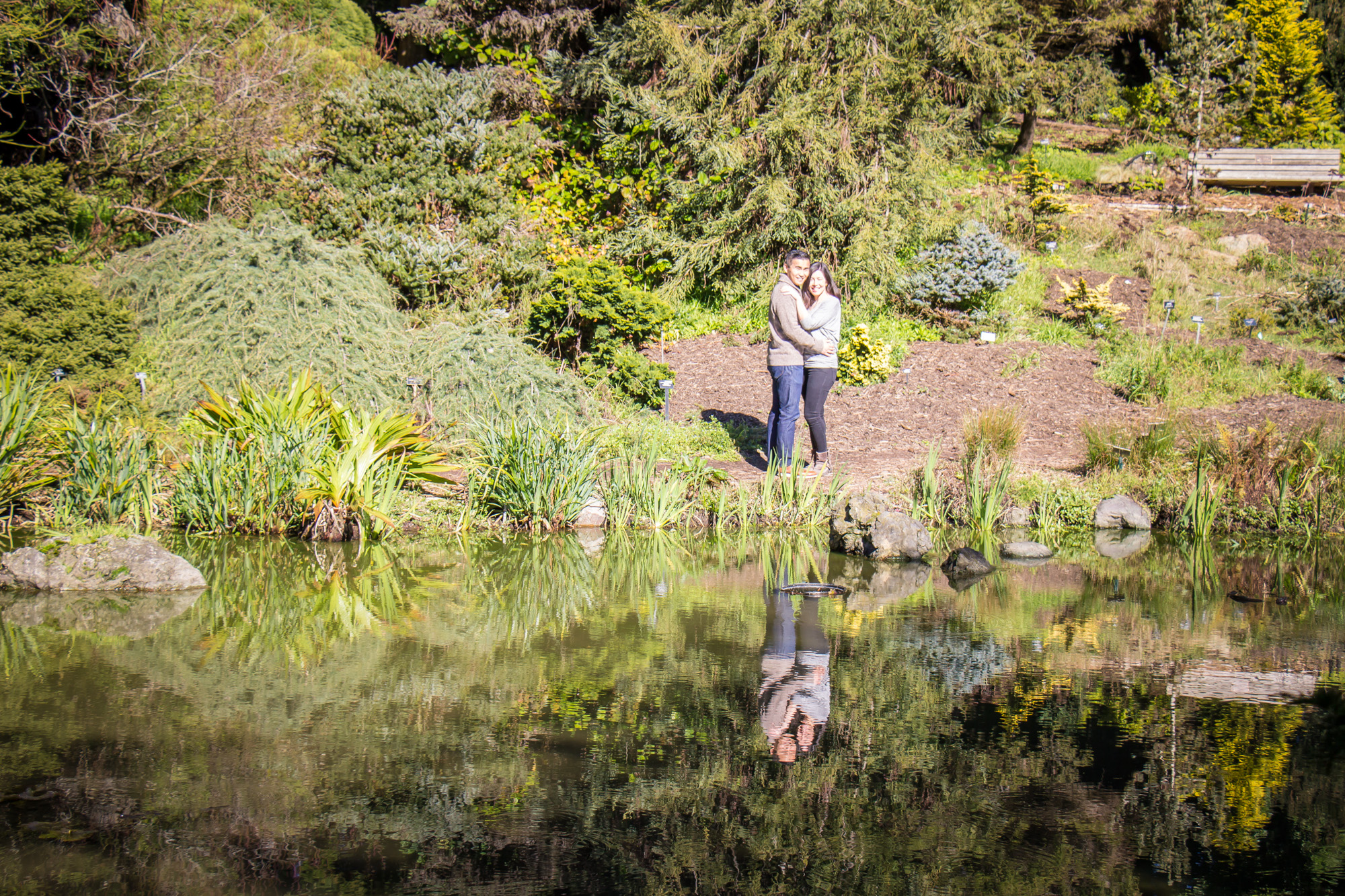water reflection engagement photo