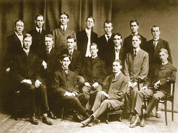 Back Row:  Edward E. Gallup, Ralph B. Scatterday, Ernest R. Ringo, R.W. Bunting (pledge), C.C. Van Valkenburgh (pledge), Clarence G. Hill, Benjamin E. Deroy     Middle Row:  Harvey J. Howard, Harry B. Washburn, William J. Marshall, Harlan P. Rowe, Walter S. Wheeler, George A. Malcolm, Jared W. Hawkins     Front Row:  Charles A. Sink, James M. Cooper