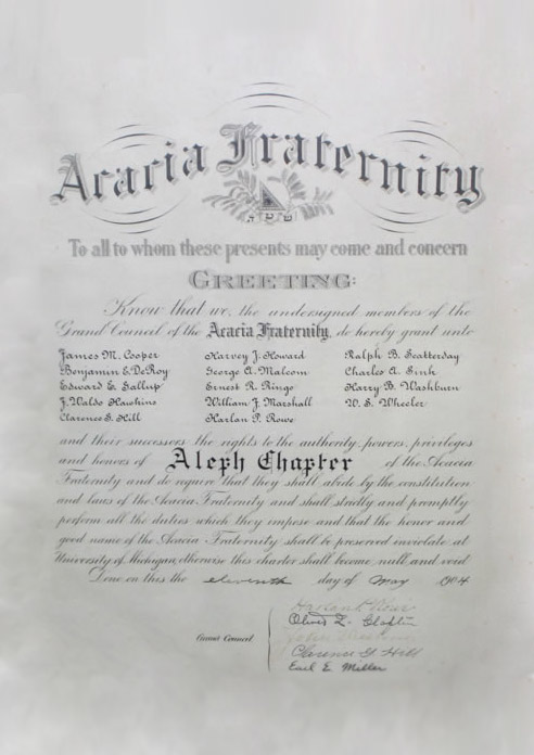The original charter of the Michigan Chapter.