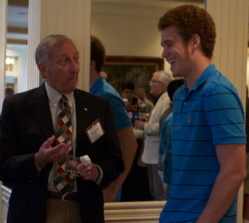 Roger Nealis (Indiana '63), right, humors Michael Bender (Missouri '15) at the 59th Biennial Conclave in Louisville, KY, July 29, 2016.
