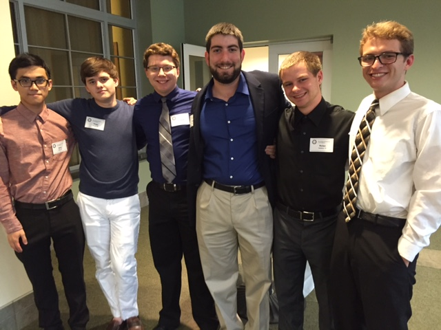 This year's ACACIA 915 Scholarship recipients (from left): Binh Phan, Sean Grady, Connor Simmons, Brian Yager, Nolan Valdivia and Sam Lundquist. Timur Chen is not pictured because he is on a study trip abroad.