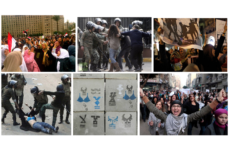 Collage of images from news media coverage of women protestors during the 2011 Arab Spring Egyptian Revolution. Source: Google News Search.