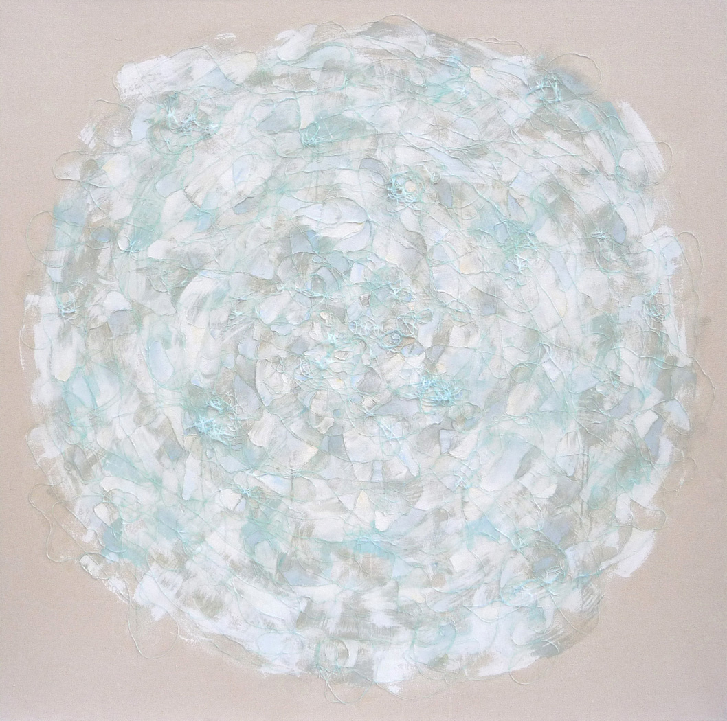 White II , 2010.  Oil, acrylic and collage on canvas. 60 x 60 inches (152.4 x 152.4 cm)