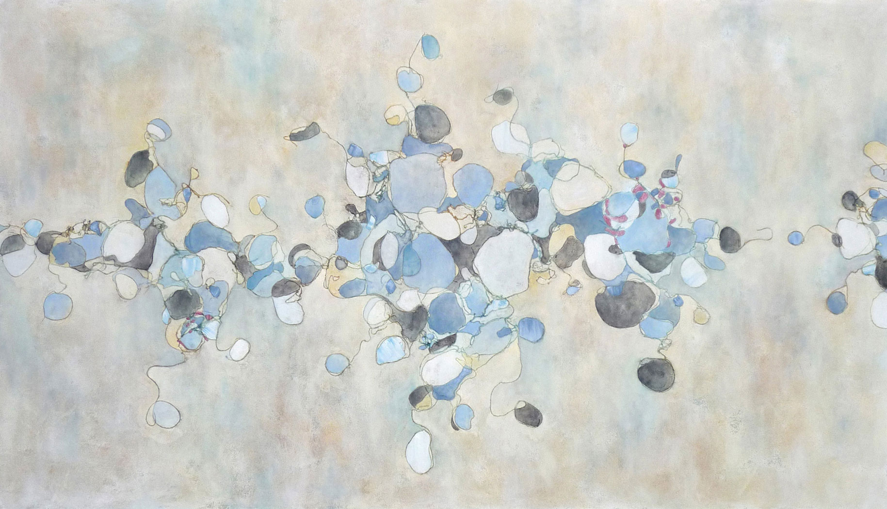 Blue White, 2009. Oil and collage on canvas. 48 x 84 inches (121.9x213.4 cm)