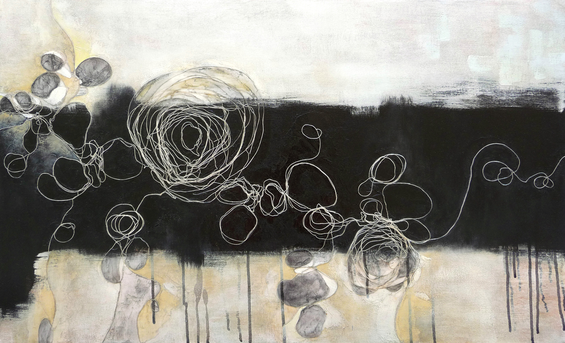 Black Stripe, 2010. Oil, acrylic and collage on canvas. 22 x 36 inches (55.9x91.4 cm)