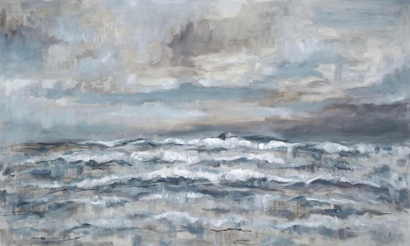 Seascape , 2017. Oil on canvas. 48x80 inches (121.9 x 203.2 cm)