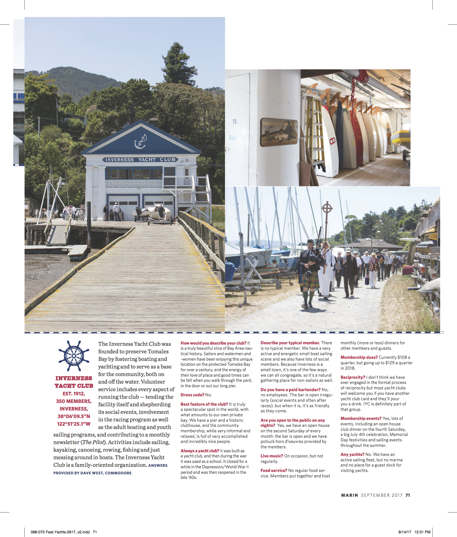 Extract of Marin Magazine Article on Friendly Bay Area Yacht Clubs