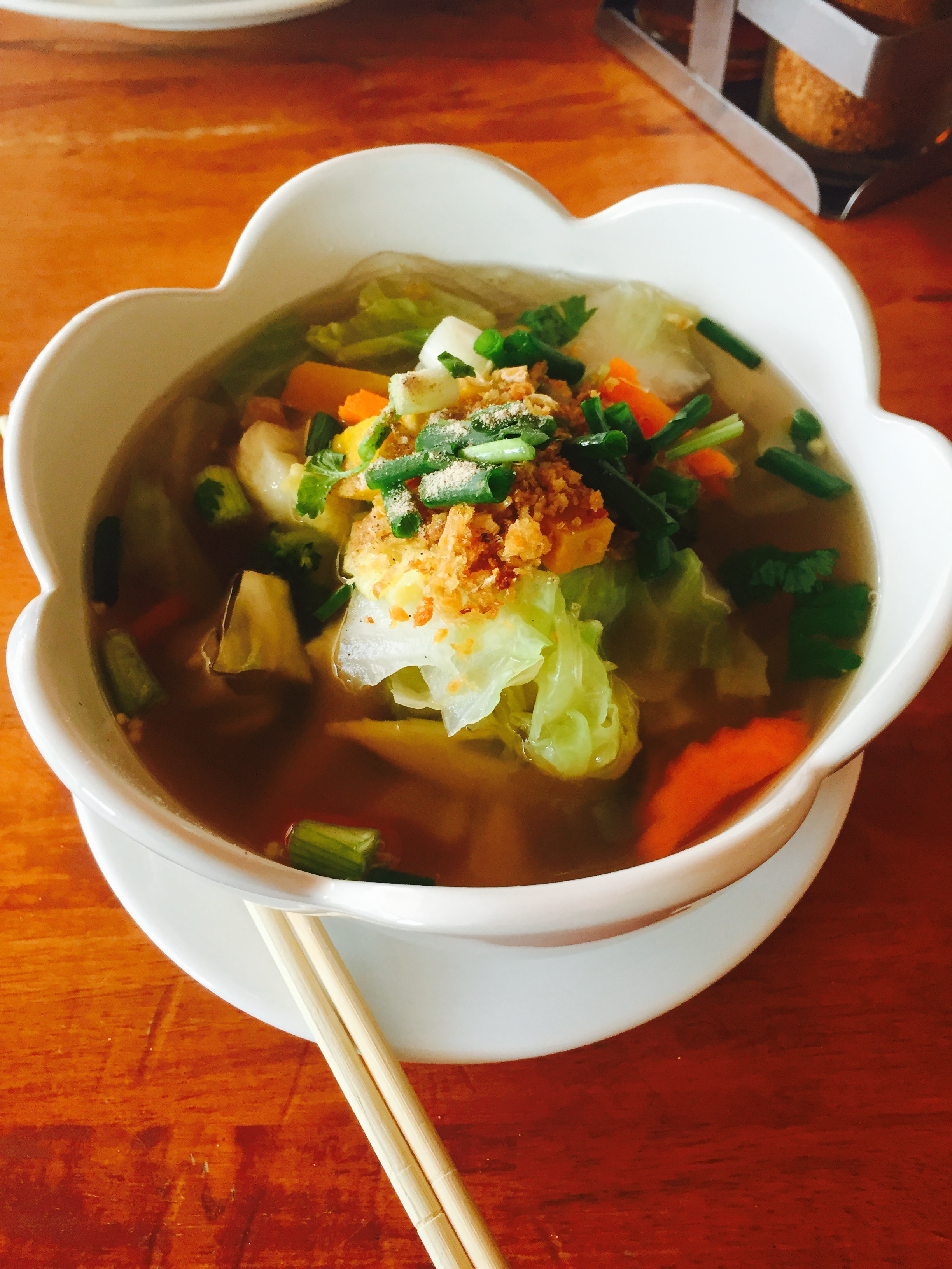 My biggest food discovery on the island: vegetable glass noodle soup. Garlic breath for days, but worth it!