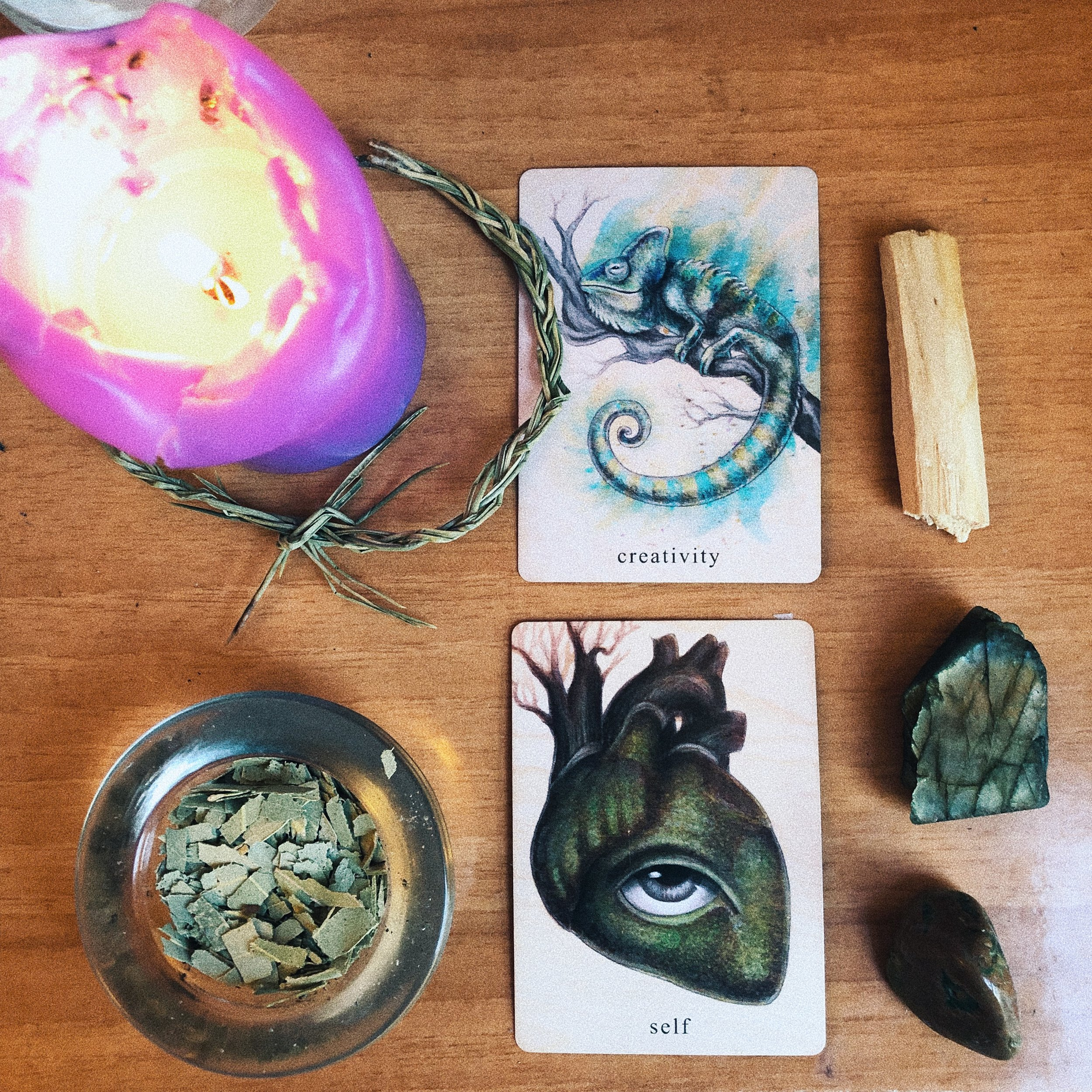 brought to you by the  earthbound oracle , featuring my protective pine braid, eucalyptus for clarity | fluidity | fertility, palo santo to shake up stagnant energy, clarifying and expression-enhancing labradorite, and divine masculine revitalizing rhyolite.