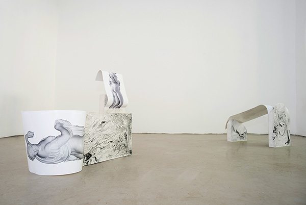 Guchi, Muchi, & Puchi , 2015 Laserjet prints, plaster, acrylic pigment, & brass rod. View from   Heartspace (sitting still within, sitting still without)  at  Mélange Cologne, May 2015
