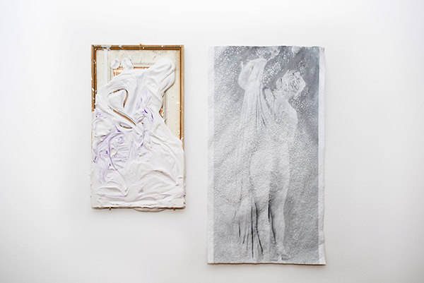 Untitled juxtaposition , 2015 found frame, plaster, acrylic pigment, digital print, ammonium crystal. View from   Heartspace (sitting still within, sitting still without)  at Mélange Cologne, May 2015