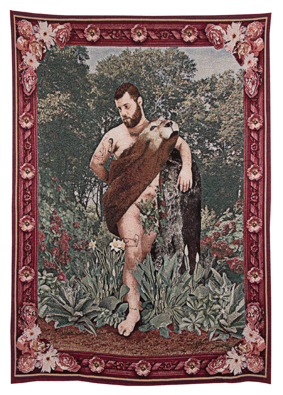 Allegory of Strength, installation view, 2014, jacquard tapestry From  Allegories of Art History