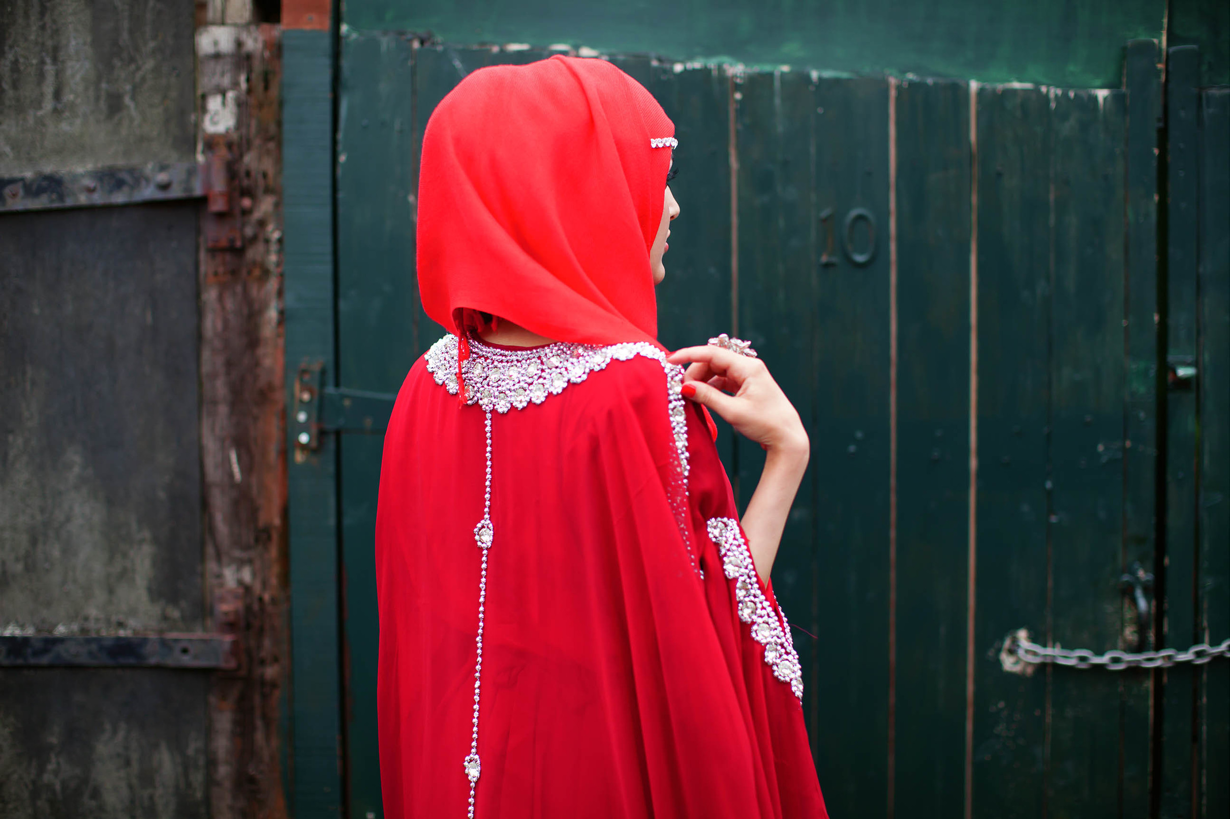 Red hijab, red dress and bling © Mahtab Hussain - Honest With You.jpg