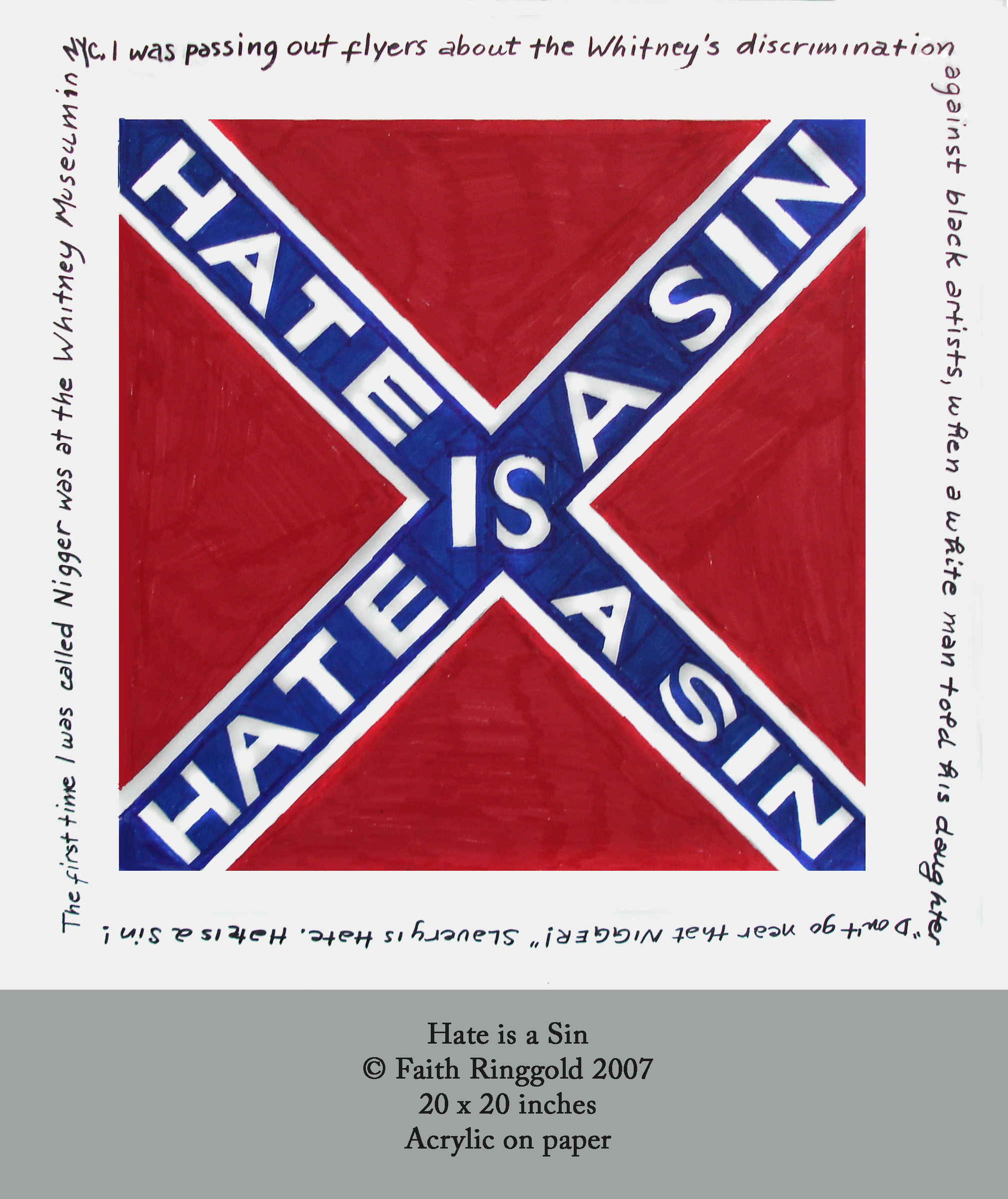 Hate Is a Sin Flag by Faith Ringgold