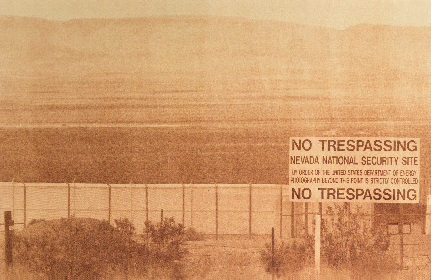 "Nevada National Security Site, Outside of Las Vegas, Nevada, Radioactive waste shipped to WIPP: 107,087 Gallons 2014, 9""x13"" Uranotype (uranium print)"